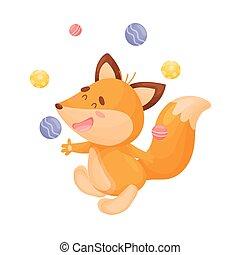 Cartoon fox juggler. Vector illustration on a white background.