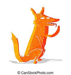 cartoon fox licking paw