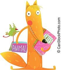 Cartoon fox reading books with bird friend - Cute red fox...