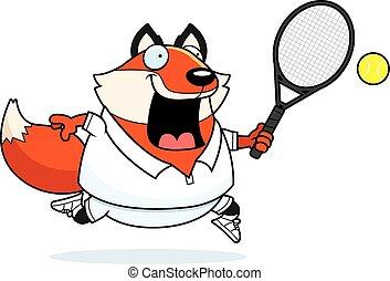 Cartoon Fox Tennis