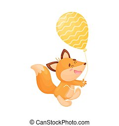 Cartoon fox with a balloon. Vector illustration on a white background.