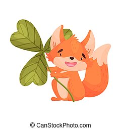 Cartoon fox with clover. Vector illustration on white background.