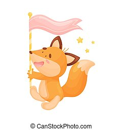 Cartoon fox with flag. Vector illustration on a white background.