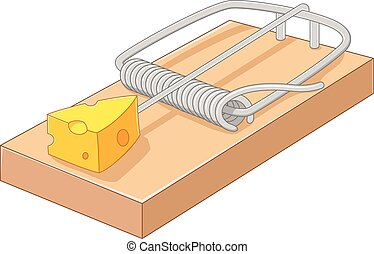 Cartoon free cheese in a mousetrap - Vector illustration of...