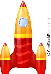 cartoon., freigestellt, vektor, yellow-red, hintergrund., rakete, weißes