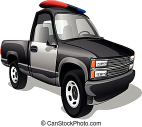 Cartoon freight police pickup car isolated on a white background. Vector illustration.