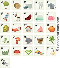 Cartoon French ABC Cliparts Poster