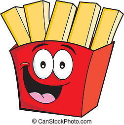 Cartoon illustration of smiling french fries.
