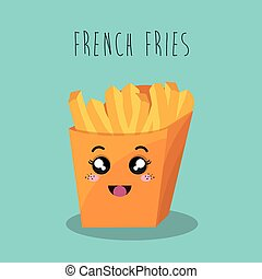 cartoon french fries food fast facial expression design isolated