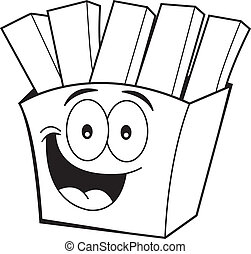 Cartoon french fries - Black and white illustration of...
