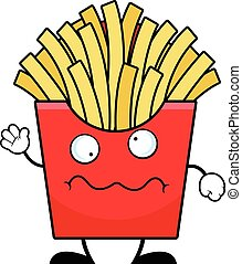 Cartoon French Fries Worried