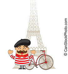 cartoon french with tower eiffel over white background....