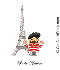 cartoon french with tower eiffel over white background. ...