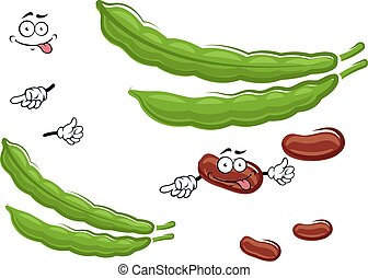 Cartoon fresh beans vegetable characters