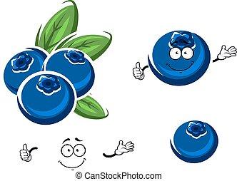 Cartoon fresh blueberry fruits on white