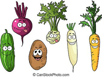 Cartoon fresh funny vegetables