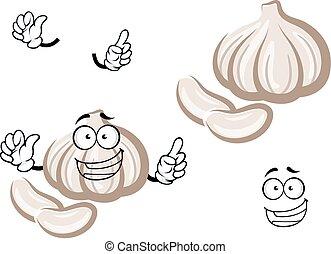 Cartoon fresh garlic bulb vegetable