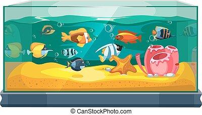 Cartoon freshwater fishes in tank aquarium vector...