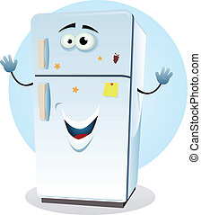 Illustration of a cartoon happy fridge character welcoming