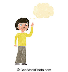 cartoon friendly boy waving with thought bubble