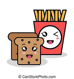cartoon fries bread with facial expression isolated design