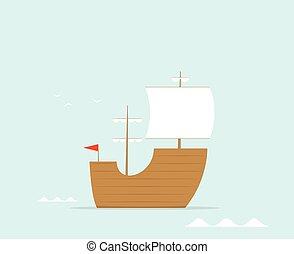 cartoon frigate flat vector ship