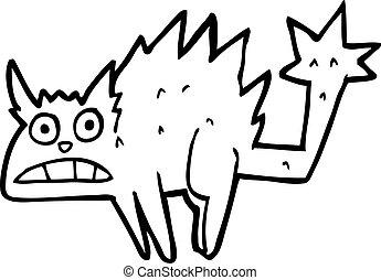 cartoon frightened black cat