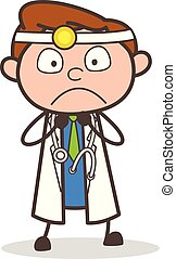Cartoon Frightened Doctor Expression Vector Illustration