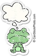 cartoon frog and thought bubble as a distressed worn sticker