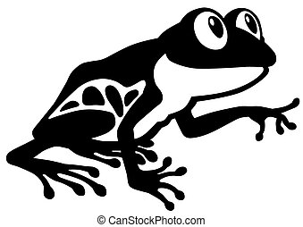 cartoon frog black and white
