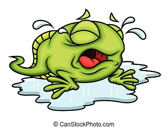 Cartoon Frog Crying Vector Illustration