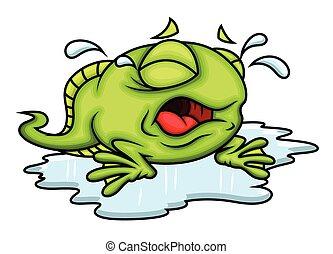 Cartoon Frog Crying Vector Illustration