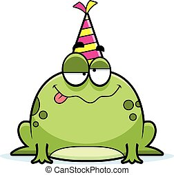 A cartoon illustration of a frog with a party hat looking drunk.