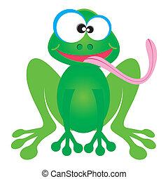Cartoon frog - Happy green frog cartoon character with long...