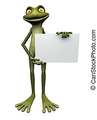 Cartoon frog holding blank sign. - A cute, friendly cartoon...
