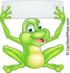 Cartoon Frog Holding Sign