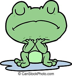 cartoon frog in puddle