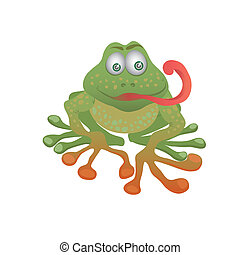 Cartoon frog on a white background.