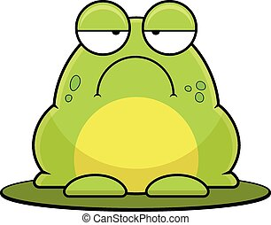 Cartoon illustration of a frog on a lily pad.