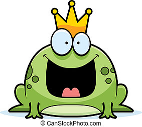 Cartoon Frog Prince - A cartoon frog prince smiling and...