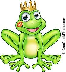 Cartoon Frog Prince Kiss