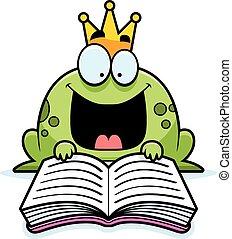Cartoon Frog Prince Reading - A cartoon illustration of a...