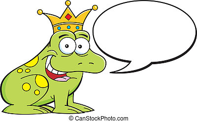 Cartoon Frog Prince Wearing a Crown