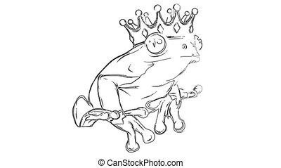 Cartoon frog prince with crown. video animation