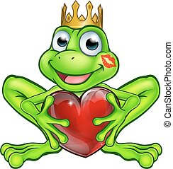 Cartoon Frog Prince with Love Heart