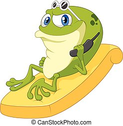 Cartoon frog relax