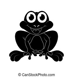 Cartoon frog silhouette isolated on white background