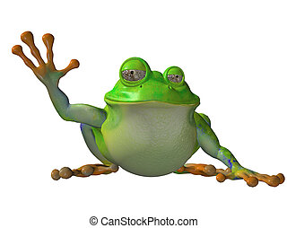 Cartoon frog sitting down waving isolated on white...