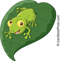 Cartoon frog sitting on a leaf