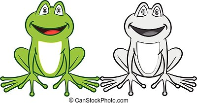 Cartoon frog with colorful and black-white. Coloring book for children